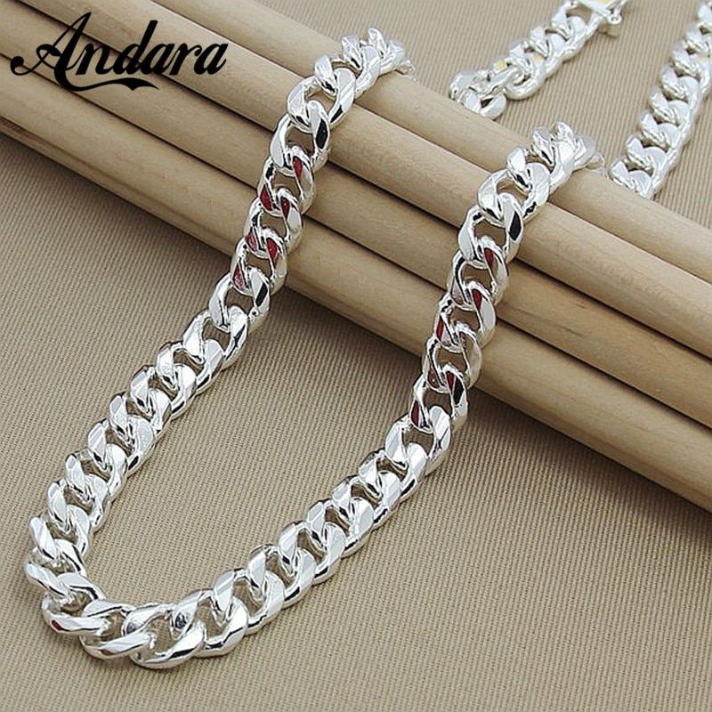 High Quality 10mm 20 24 50cm 60cm Men Necklace 925 Silver Link Chain Necklaces For Male Jewelry Party Gift Chain Link Necklace Silver Silver Link Chain Chain Link Necklace