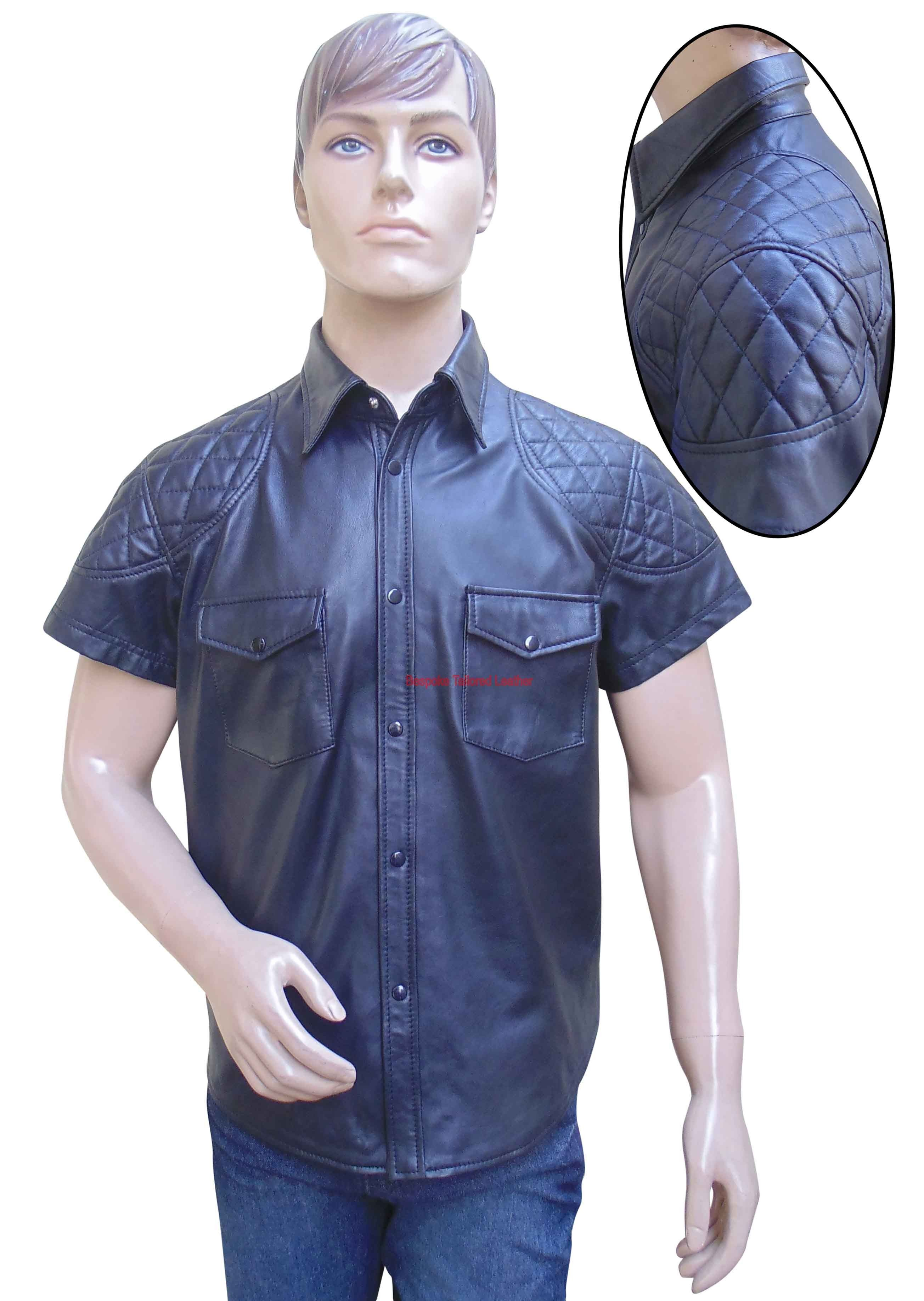 Leather Shirt With Qulting Design - Sheep Nappa - Custom Made To Order Leather Shirt With Qulting Design, Two Front pocket, Real Sheeep Nappa.  We can also make the same garment to your own specific Leather color and colored piping size at extra cost., please choose Custom Made from selection list