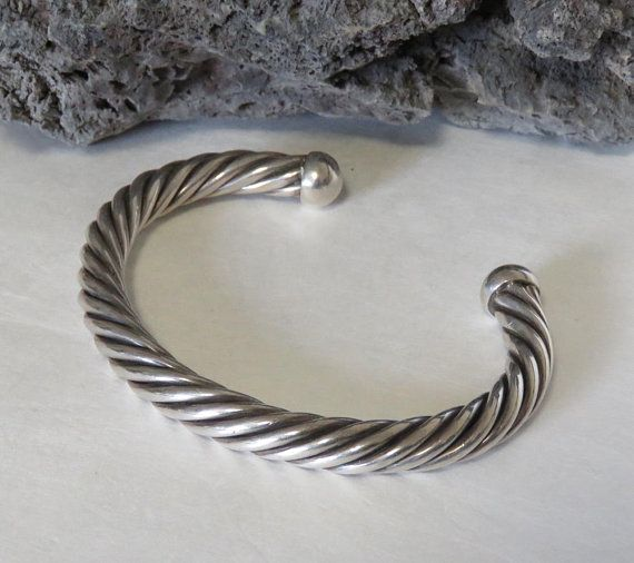 Heavy Sterling Silver Cuff Bracelet Cable Twisted Men S Or