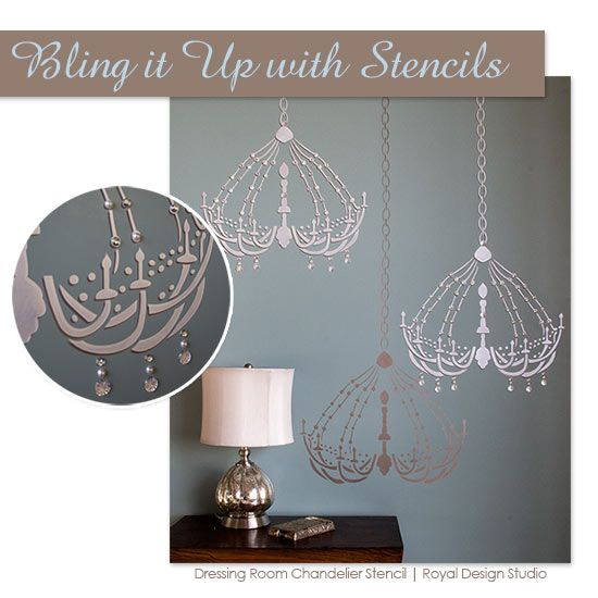 Dressing room chandelier bari j stencil wall stenciling dressing room chandelier bari j stencil mozeypictures Images