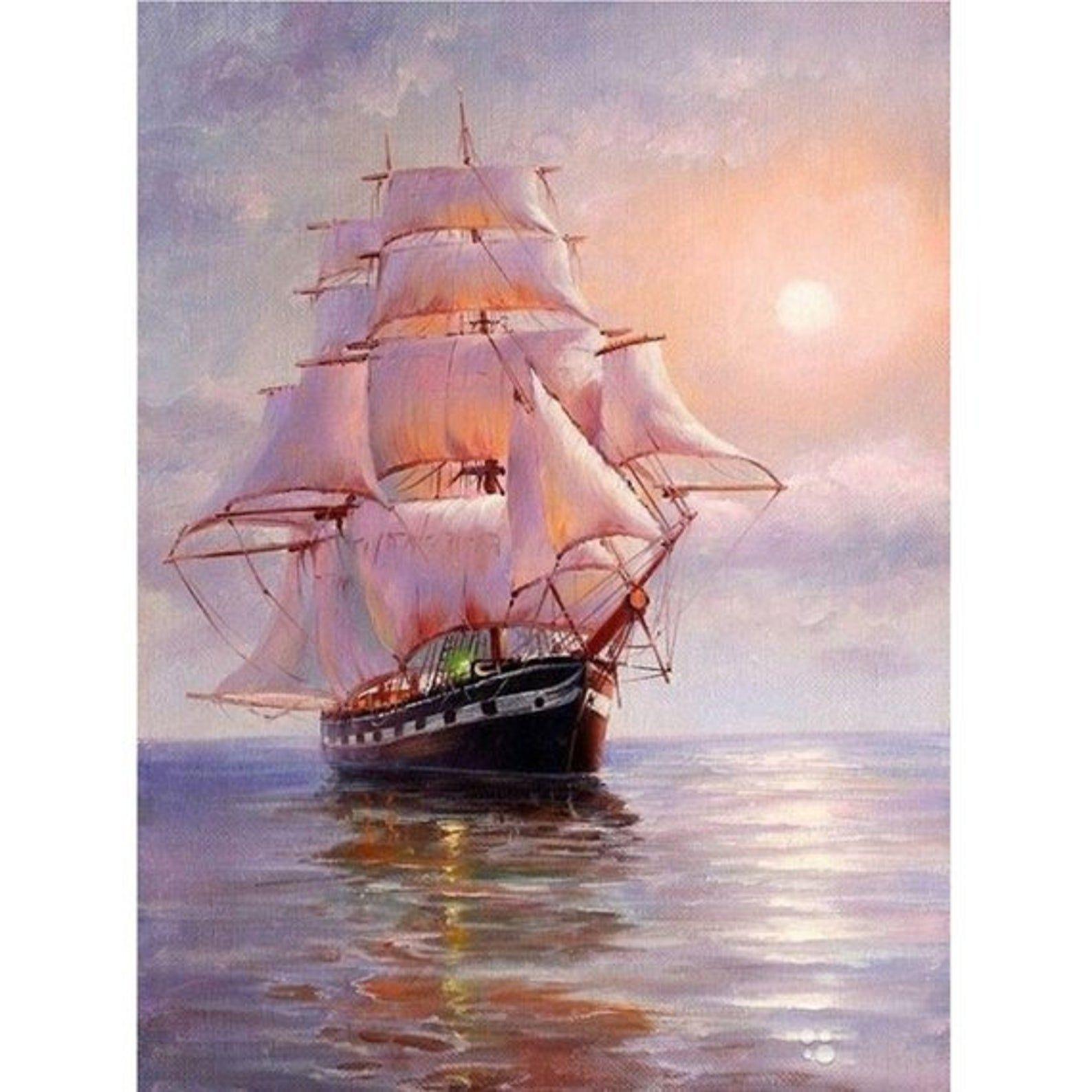 5D Flower Diamond Painting Diy SailBoat Full drill Cross stitch Home Decoration