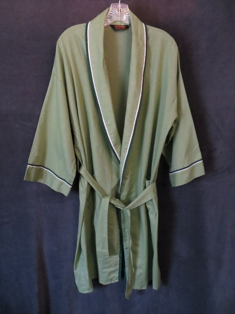 152224075c Vintage Le Robe Perma Press One Size Green White Lightweight Belted Robe  OneSize  fashion