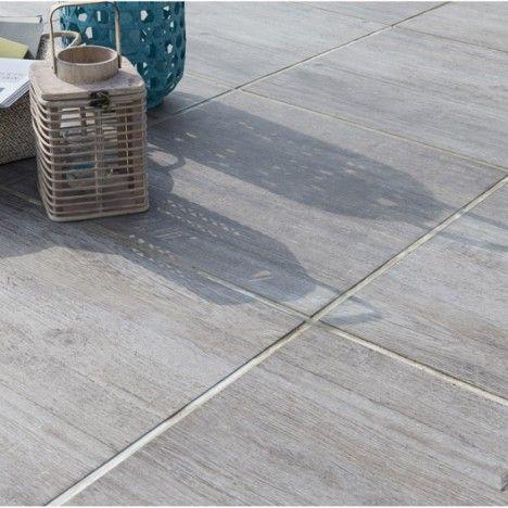 Dalle Océane plot en pierre reconstituée gris clair, L 60 x l 60 cm - pierre de dallage exterieur