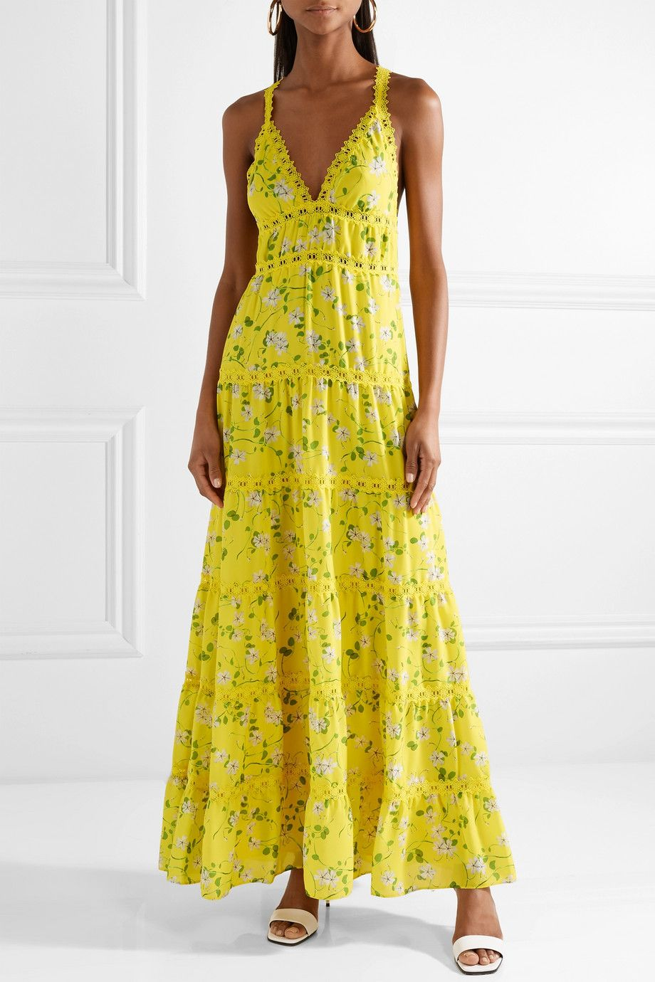 Buy Cheap Best Prices Outlet Enjoy Karolina Crochet-trimmed Floral-print Chiffon Maxi Dress - Bright yellow Alice & Olivia Websites Authentic It1LcZwV