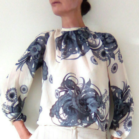 Long Sleeved Blouse from AntAtHome - The blouse is the epitome of fashion ~ choose between raglan sleeves with gathered neckline, or a modern vintage crossover with three quarter sleeves...