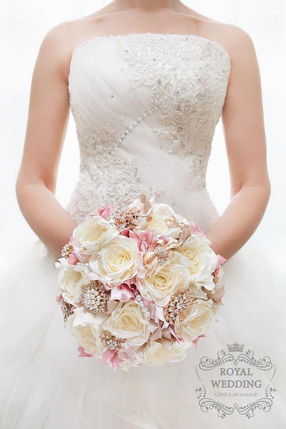 Silk Flower Brooch Bouquet Ivory Rose Gold Wedding Bouquet Pink
