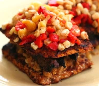 V e g a n D a d: Grilled Jerk Tempeh and Mushrooms with Roasted Peach Salsa