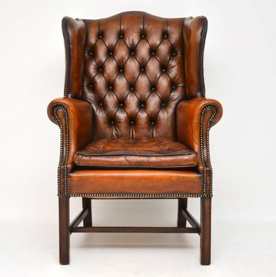 Antique Leather Wing Back Armchair for sale at Pamono ...