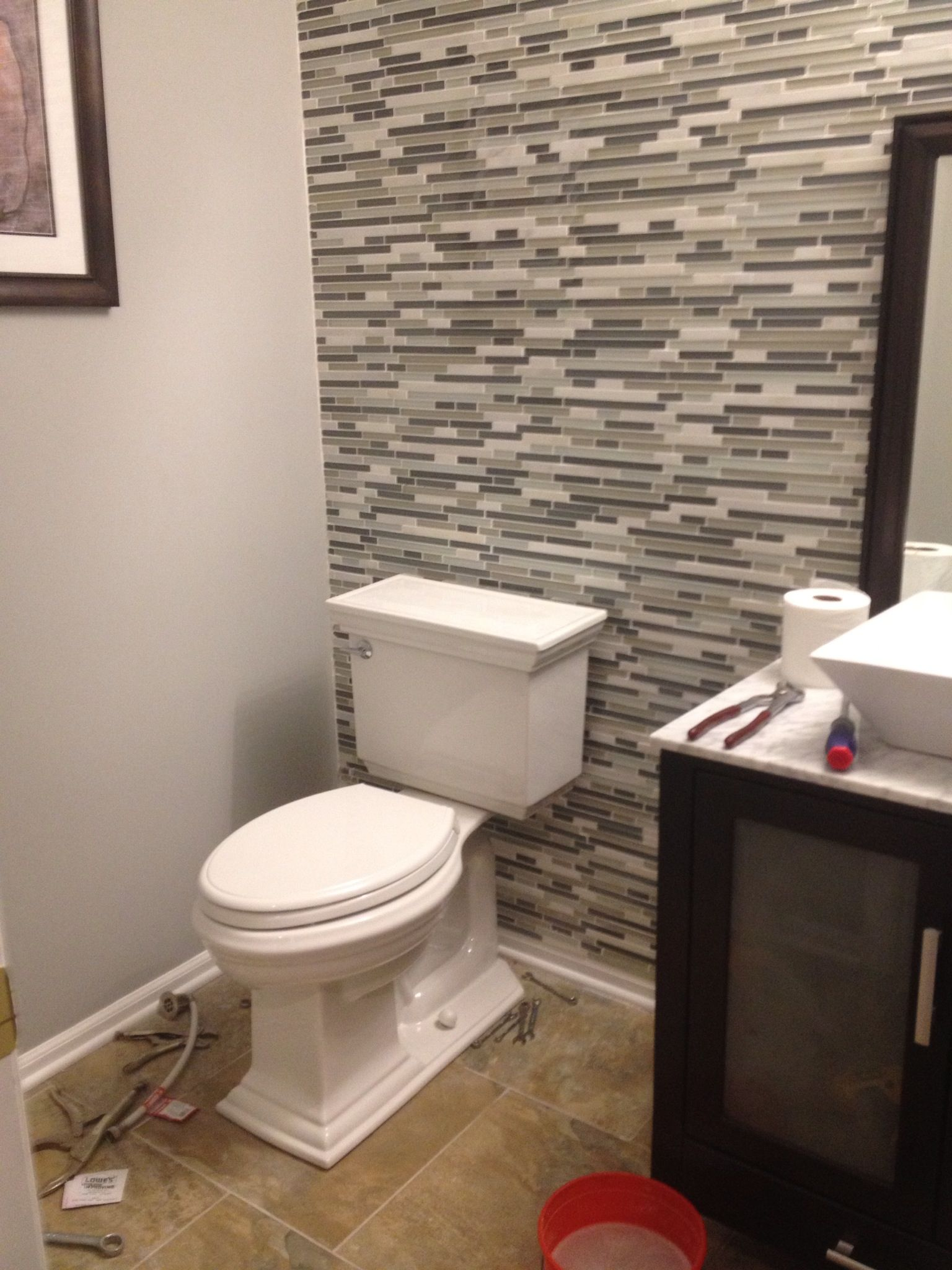 Mosaic Wall Tile On The Back Wall Of The Powder Room Dyi Glass Tile Bathroom Room Wall