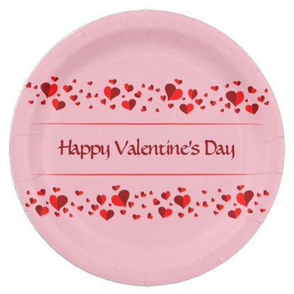 Pink and Red Hearts | Happy Valentineu0027s Day Paper Plate - #customize create your own  sc 1 st  Pinterest & Pink and Red Hearts | Happy Valentineu0027s Day Paper Plate - #customize ...