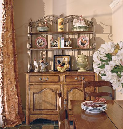 A Wooden Hutch In A Kitchen