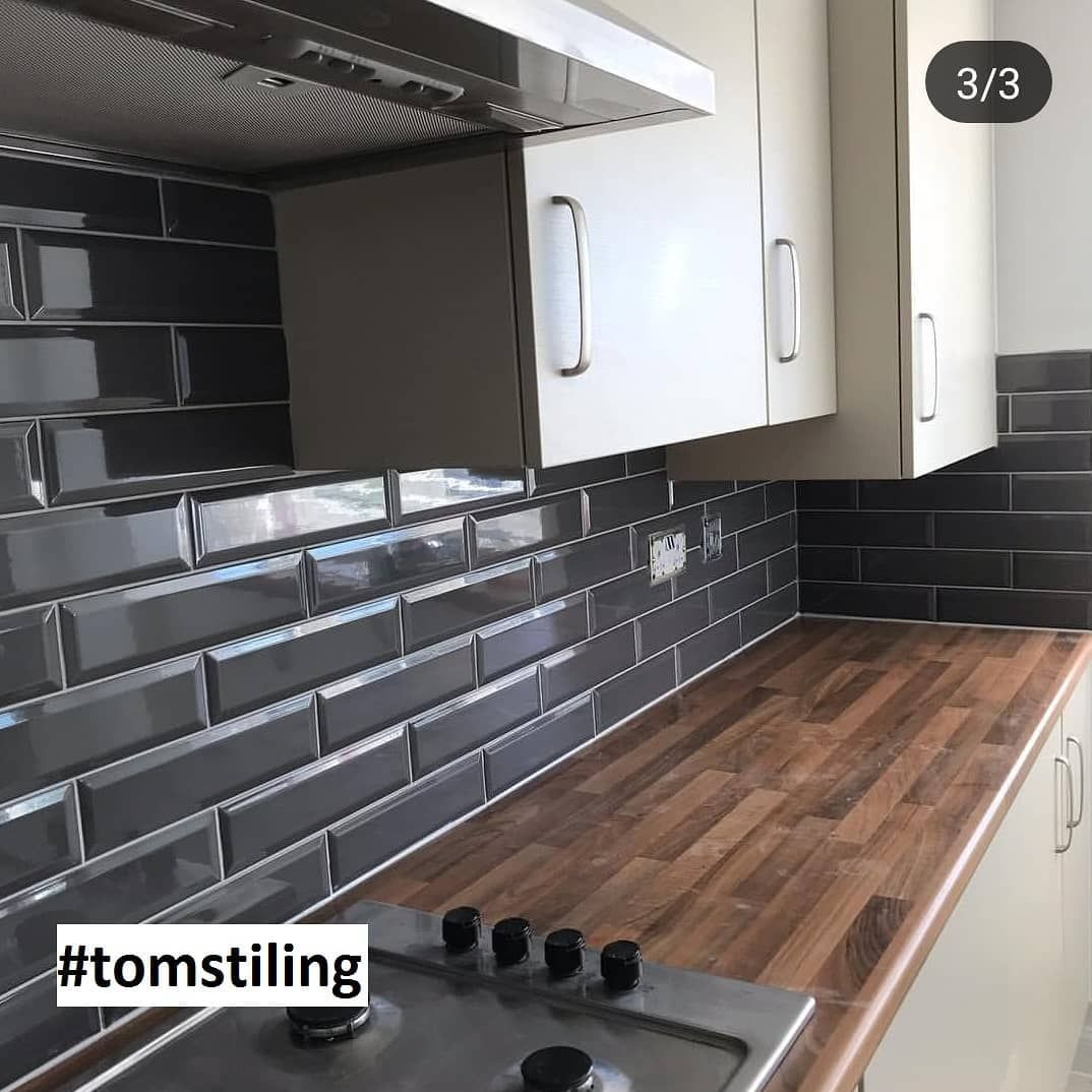 Marylebone Dark Grey Kitchen Tiles Design Black And Grey Kitchen Grey Kitchen Tiles