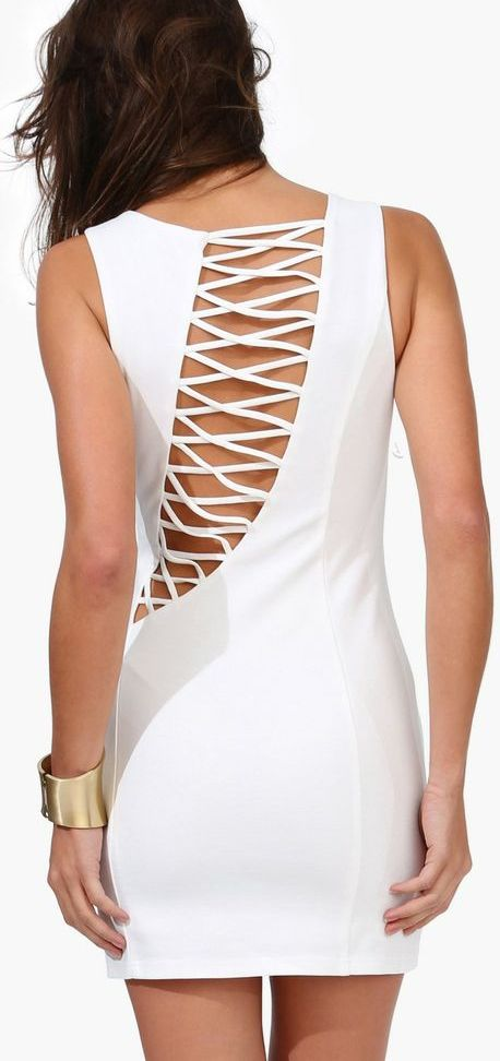 Cross back dress // love the asymmetrical design detail
