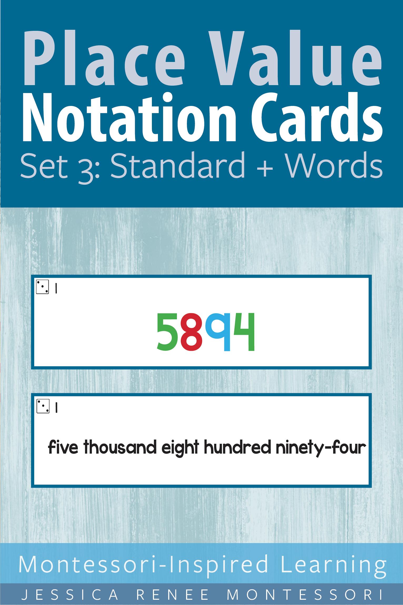 Montessori Math Place Value Notation Cards Set 3 Standard