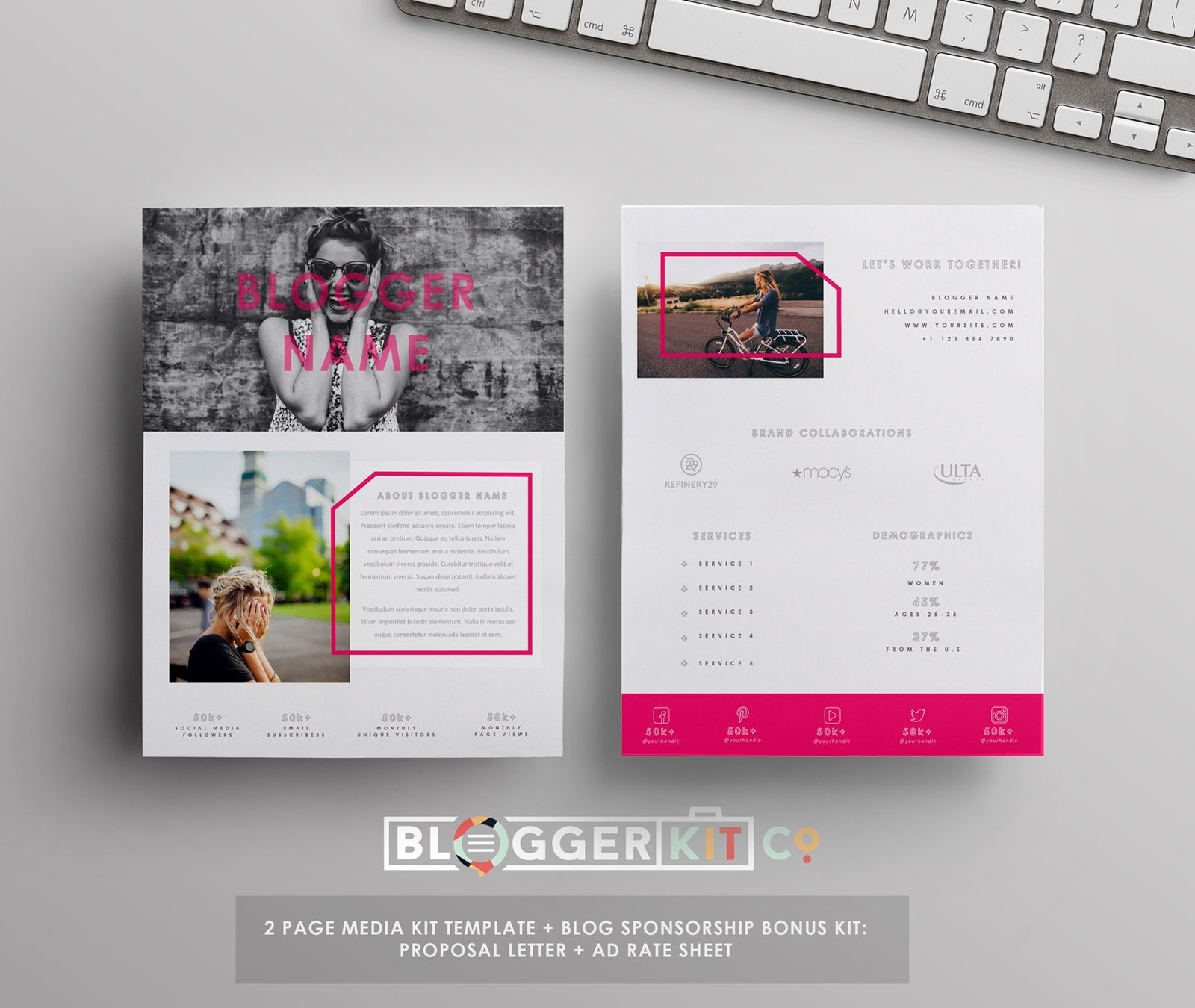 Sponsorship Resume Template Blog Media Kit And Sponsorship Set  Ad Rate Sheet Ms Word  Media .