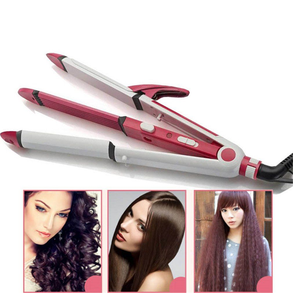 3 In 1 Electric Hair Curler And Straightener Personal Hair Styling Tools Thermostatic Wavy Ceramic Curling Iron P Electric Hair Curlers Hair Curlers Hair Tools