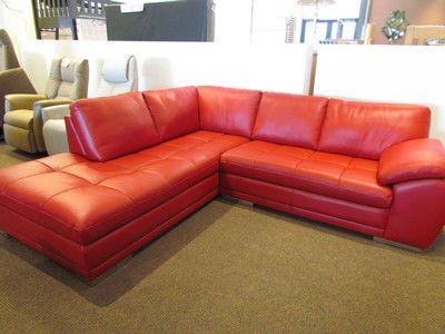 Beau The Miami Leather Sofa Sectional In Crimson W/ Chrome Feet By Palliser.