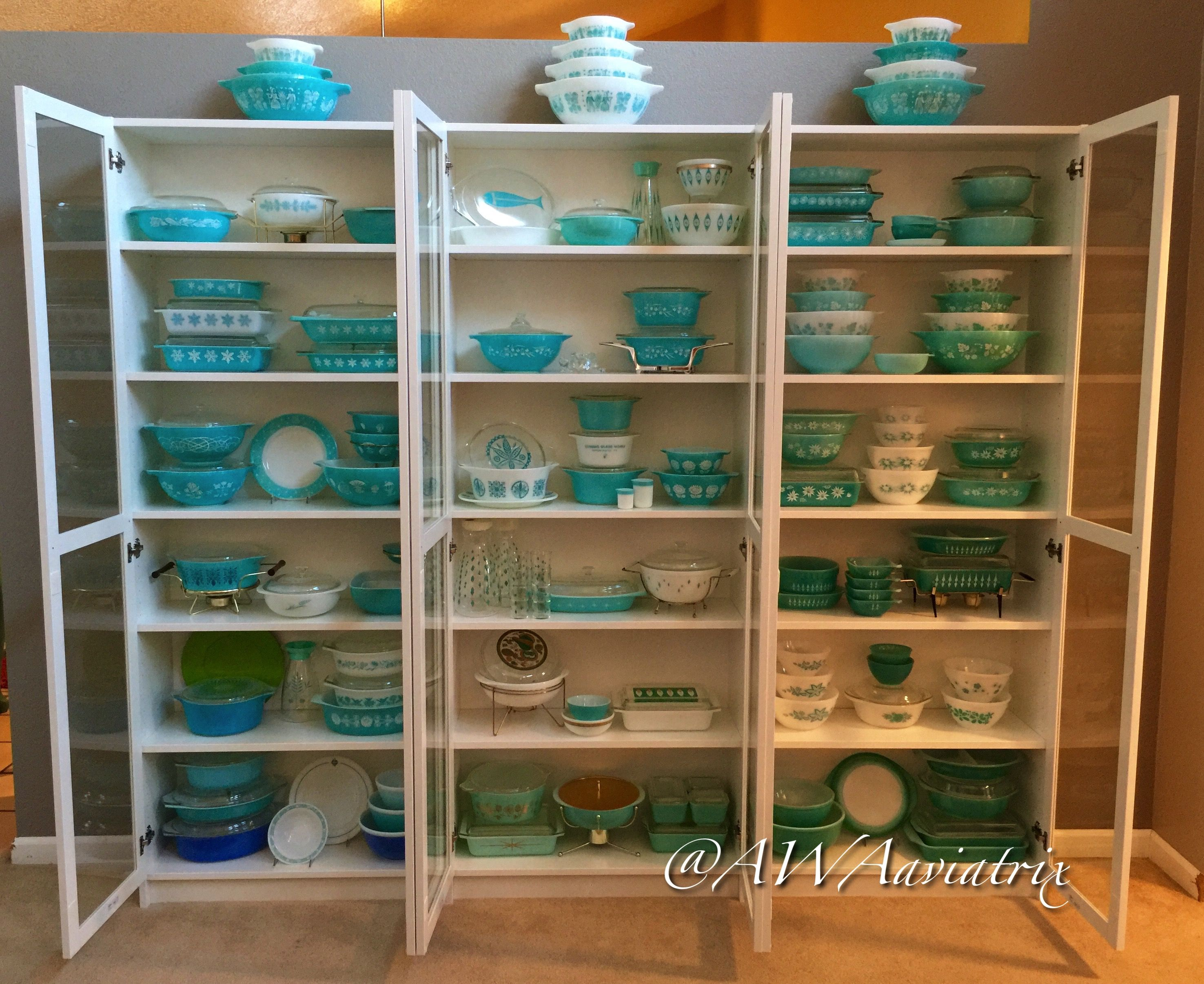 Shelf bookcases memorial wall displays antique white wall display - My Turquoise Pyrex Collection Displayed In Ikea Billy Bookcases With Oxberg Glass Doors