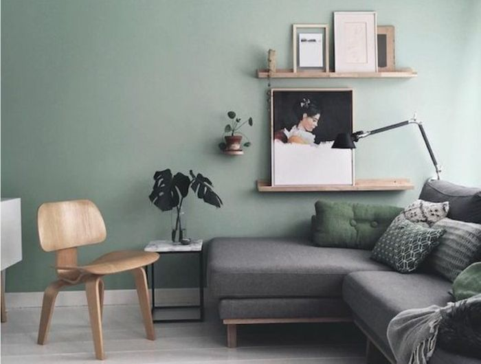 Deco Salon Moderne Couleur Peinture Salon Vert Pastel Canape Gris  Lignes Epurees