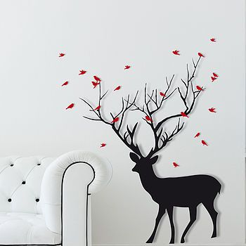 christmas deer with birds wall sticker from not on the high street