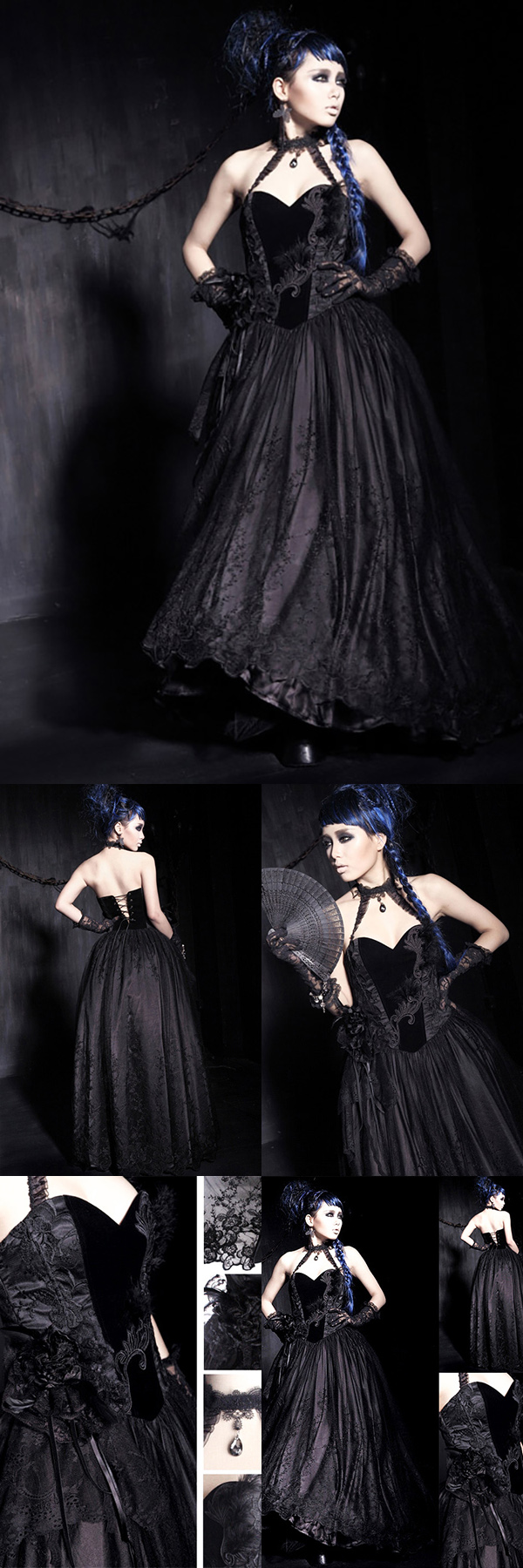 Punk rave gown stunning gothic gown in black crafted with