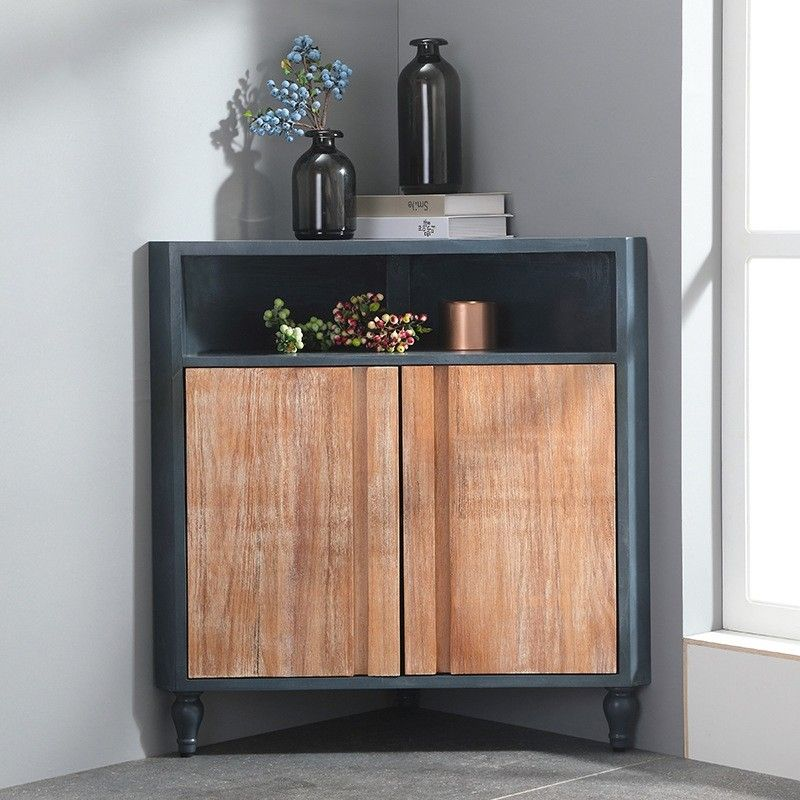 Modern Corner Cabinet Blue Accent Cabinet Triangle Rustic 2 Doors Cabinet With Shelf Drawer In 2020 Corner Cabinet Corner Cabinet Living Room Accent Cabinet