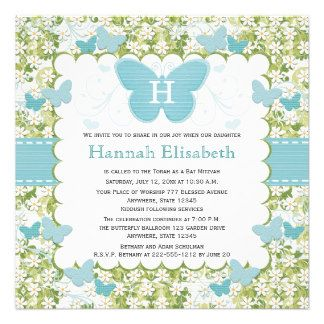 butterfly bat mitzvah invitations - Google Search