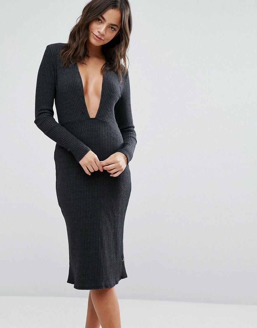 NYTT Long Sleeve Plunge Front Dress In Latest khUYR