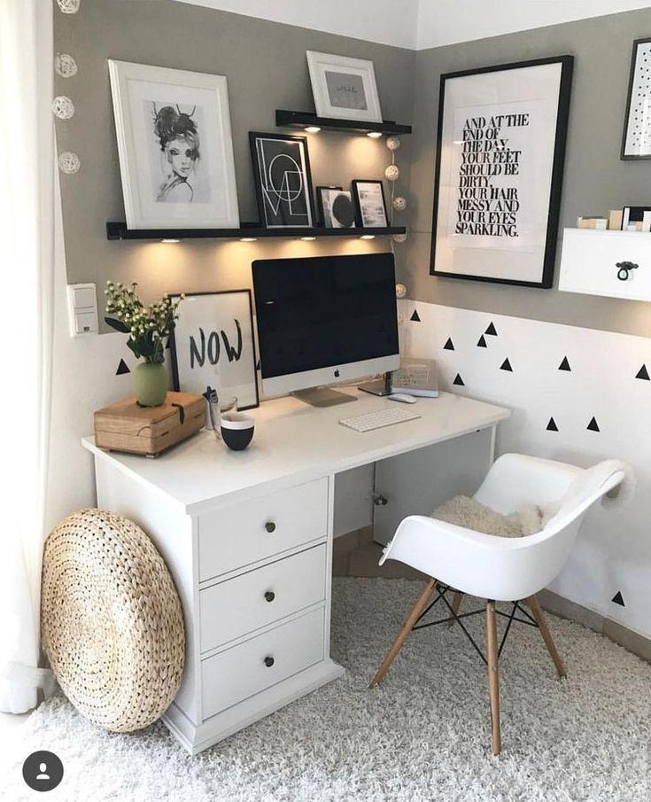 45 Perfekte Idee Raumdekoration Holen Sie Es Sich Aus In 2020 Kleiner Schreibtisch Schlafzimmer Buro Zimmer Raumdekoration