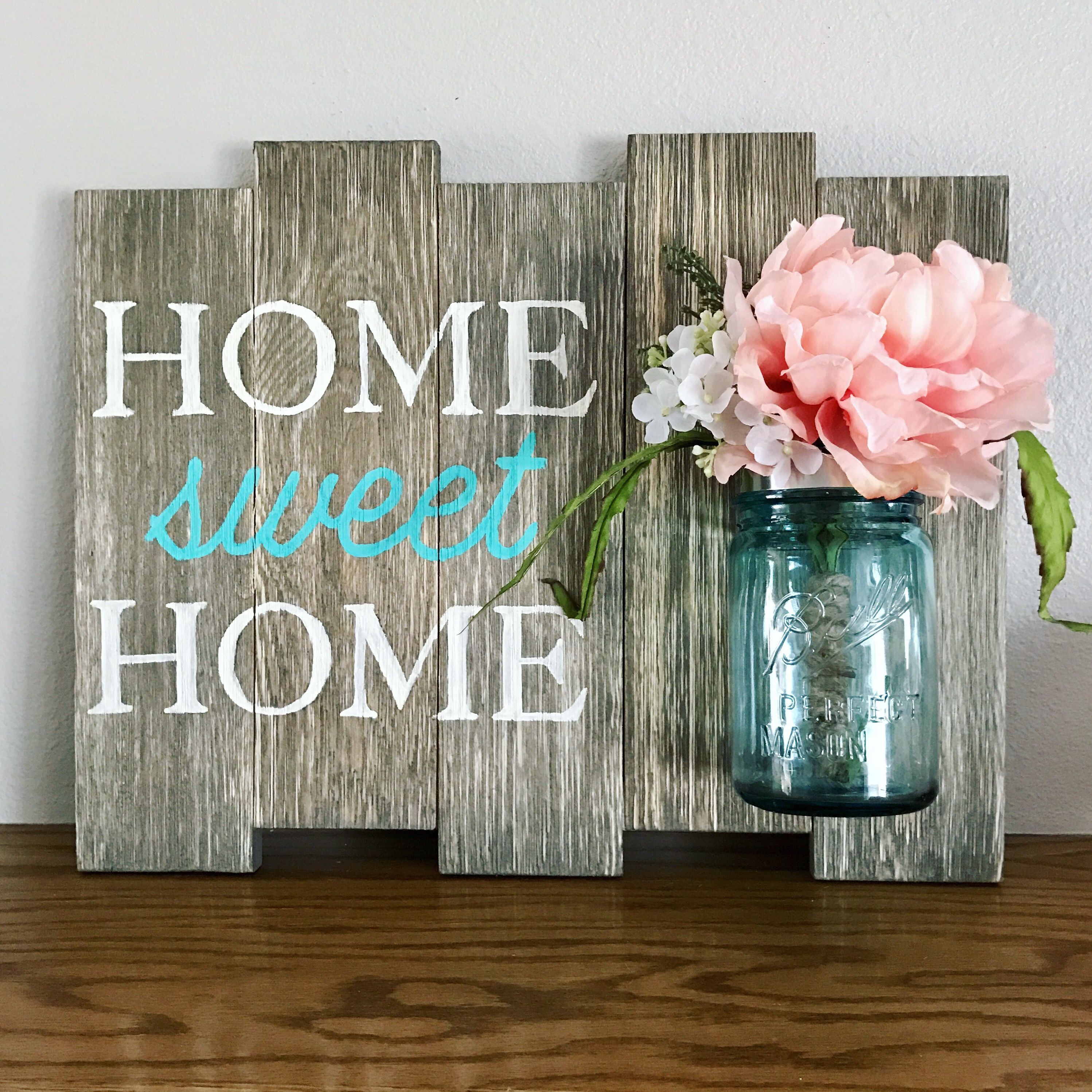 Home Sweet Home Vintage Ball Perfect Mason Jar Sign Rustic Home Decor
