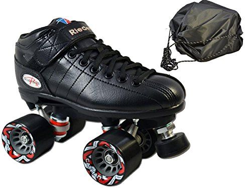 Riedell R3 Black 2016 Speed Skate 2 Pc Bundle With Drawstring Bag Mens 9 Ladies 10 Want Additional In Quad Roller Skates Speed Skates Speed Roller Skates