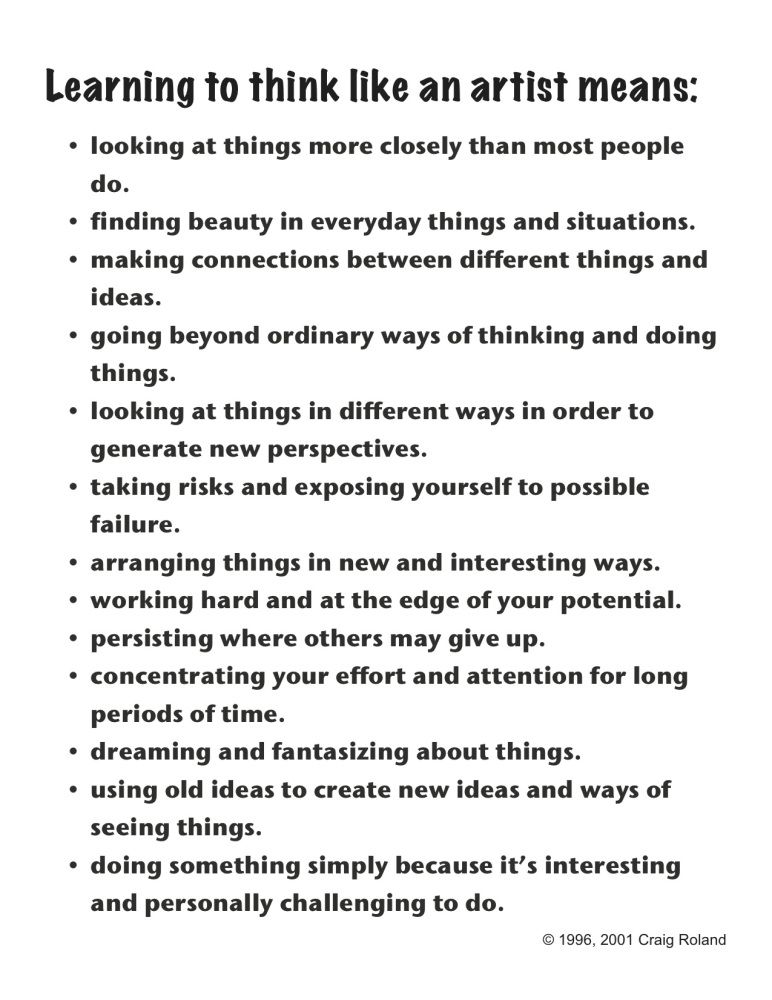Learning to think like an artist Learning, Artist and Art lessons - artist statement template