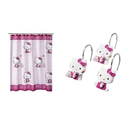 Hello Kitty Shower Curtain And Hooks Amazon Com Home Kitchen