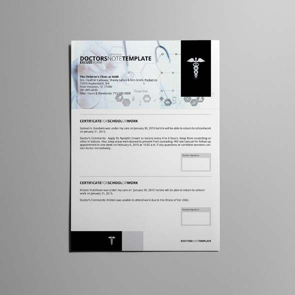 Doctors Note Template CMYK \ Print Ready Clean and Corporate - what is a doctors note