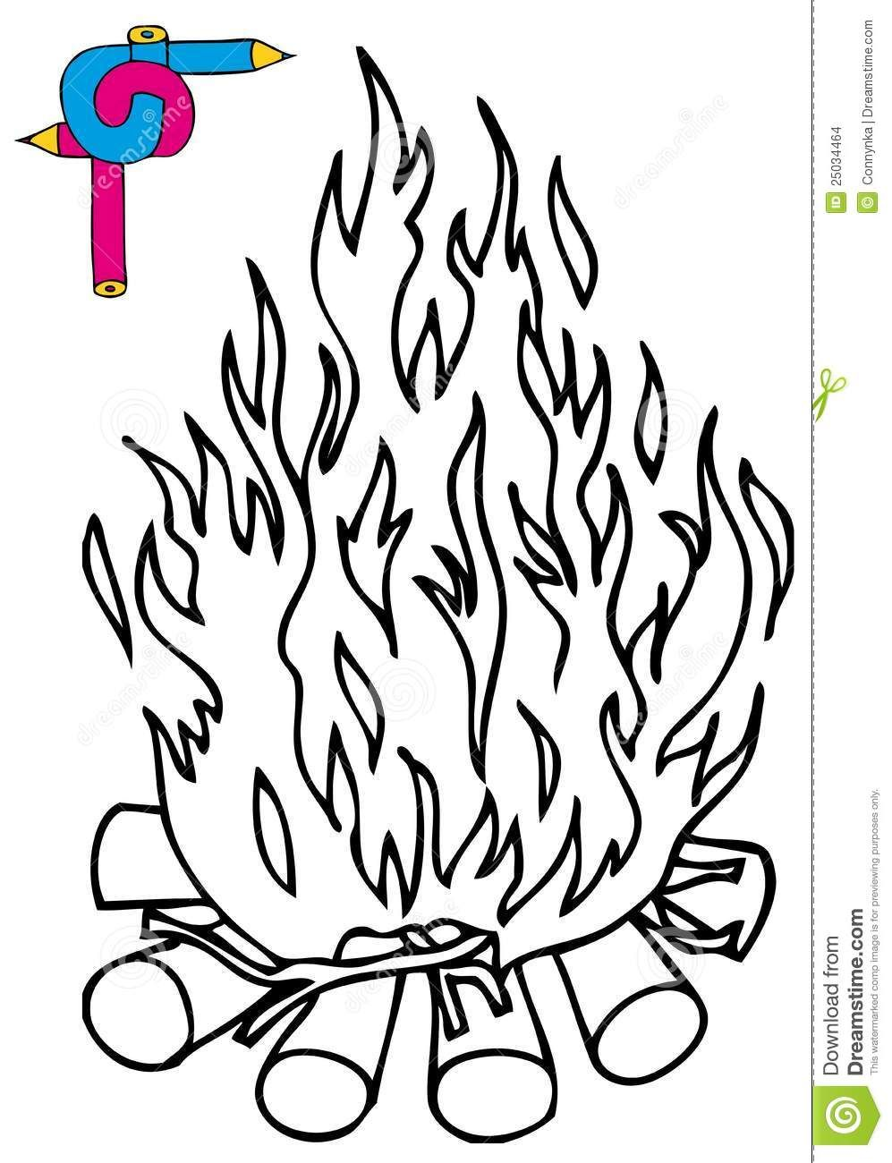 - More Similar Stock Images Of ` Coloring Image Campfire Sketch