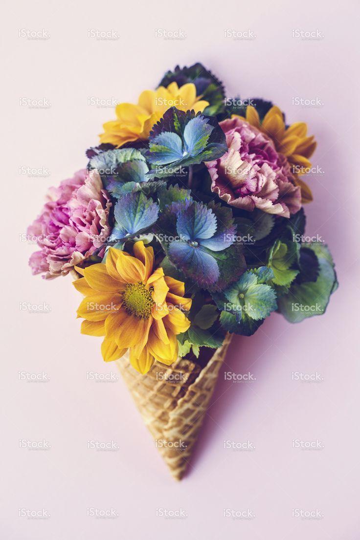 Fresh Flowers In Ice Cream Cone Still Life Flower Cones Flower Art Ice Cream Flower