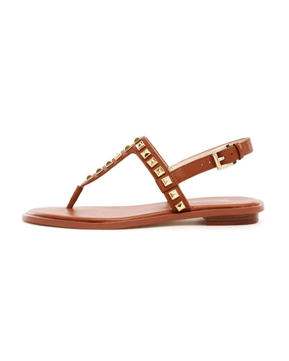 8894b02f7404 Michael By Michael Kors Alexi Studded Flat Sandal in Brown (luggage)