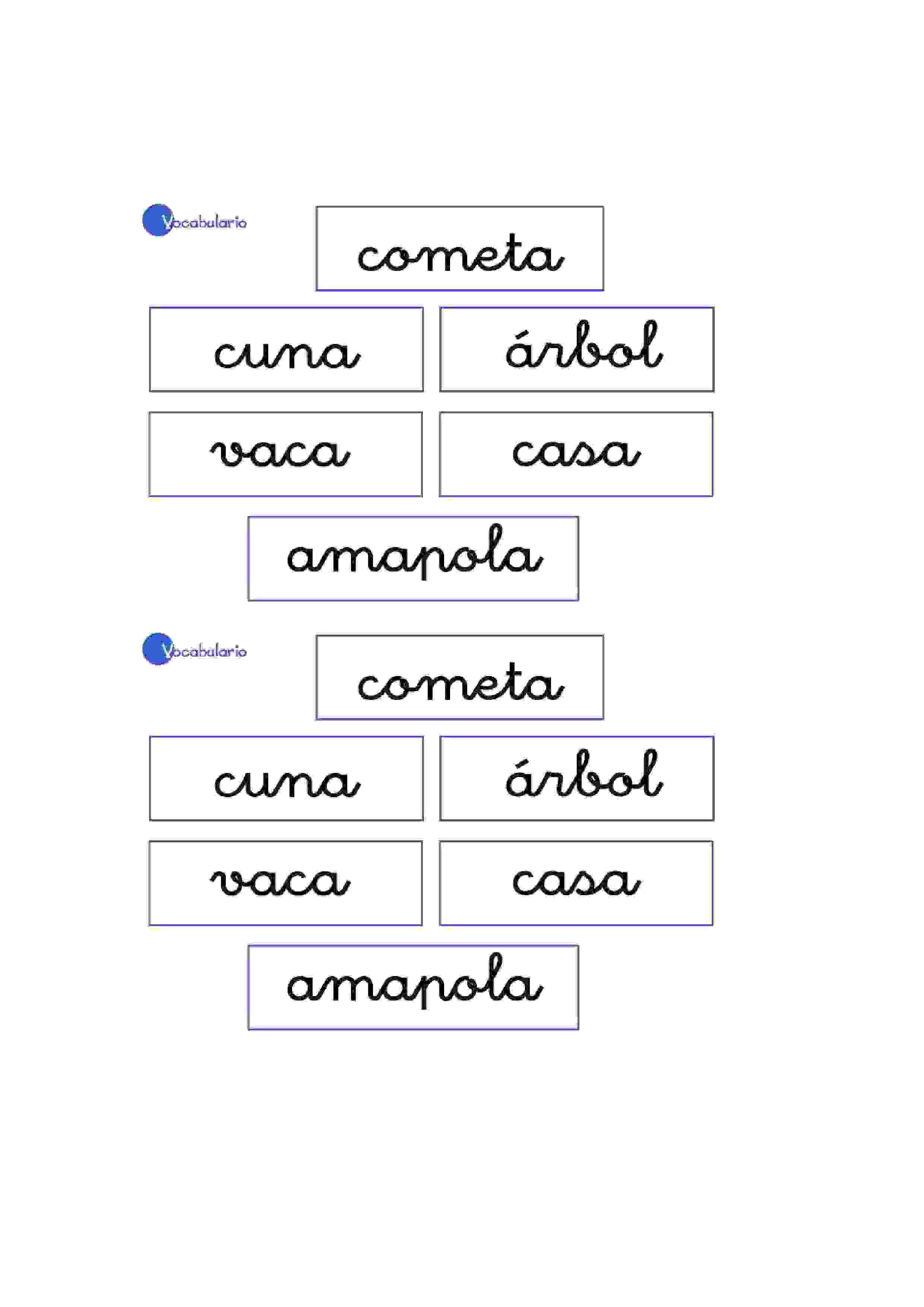 Lernübungen für kinder zu drucken. Vokabular Spanisch zu lernen 1 ...