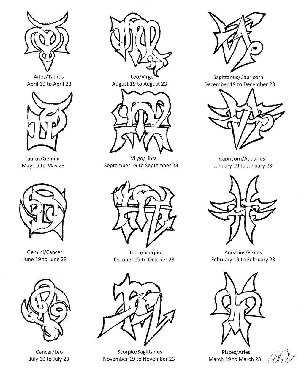 Zodiac Cusps Tattoo Designs By Wolfrunner6996 On Deviantart Zodiac Cusp Zodiac Sign Tattoos Zodiac Tattoos