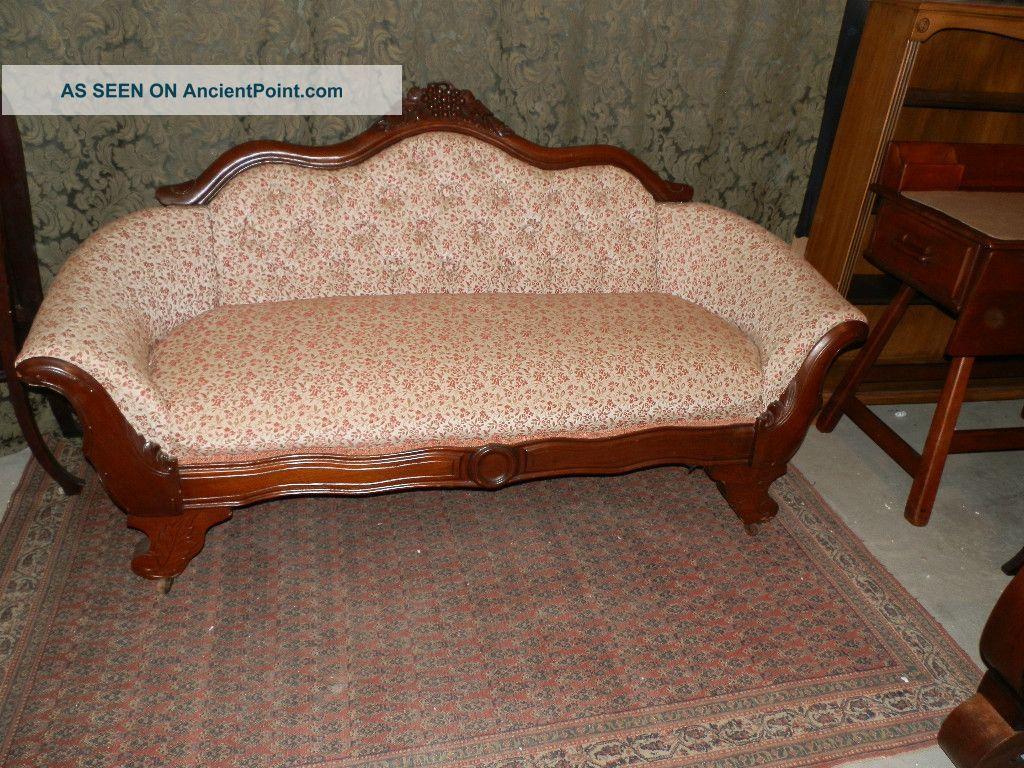 Wonderful Antique Victorian Parlour Sofa W Carved Grape Detail