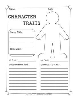 Character Traits Graphic Organizer Worksheet | Reading ...