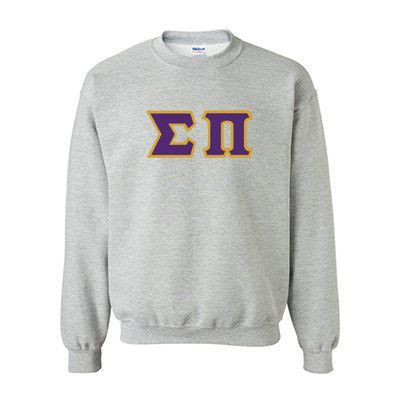 This Standards Crewneck Sweatshirt for Sigma Pi has two options, you can choose to have this sweatshirt come in Sport Grey or in White and then select a size. Sweatshirt will come with sewn-on twill Greek letters for Sigma Pi. We have selected your letter color / border color (pictured) for you in order to offer you these great savings. Letter Color (Top Color): PURPLEBorder Color (Outline): GOLD G180 Gildan Sweatshirt Specifications: 50% cotton, 50% polyester; double-needle stitching throughout