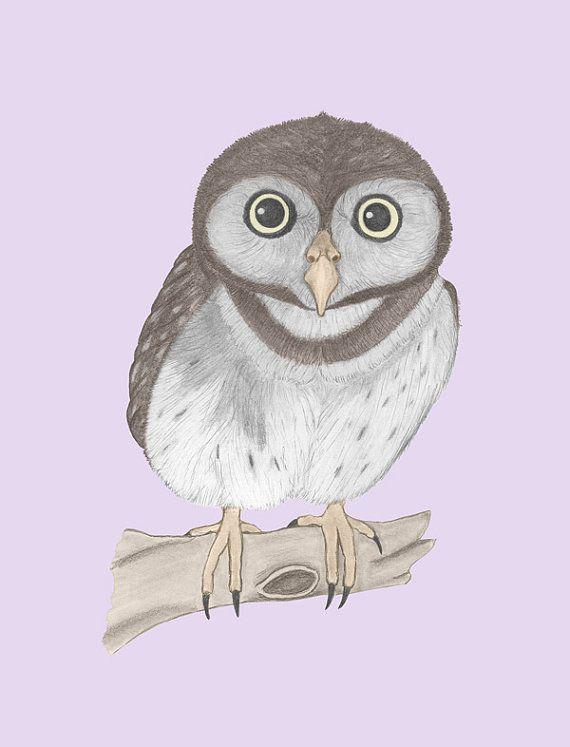 Nursery Print  Baby Owl by ScubamouseStudiosJr on Etsy, $12.00