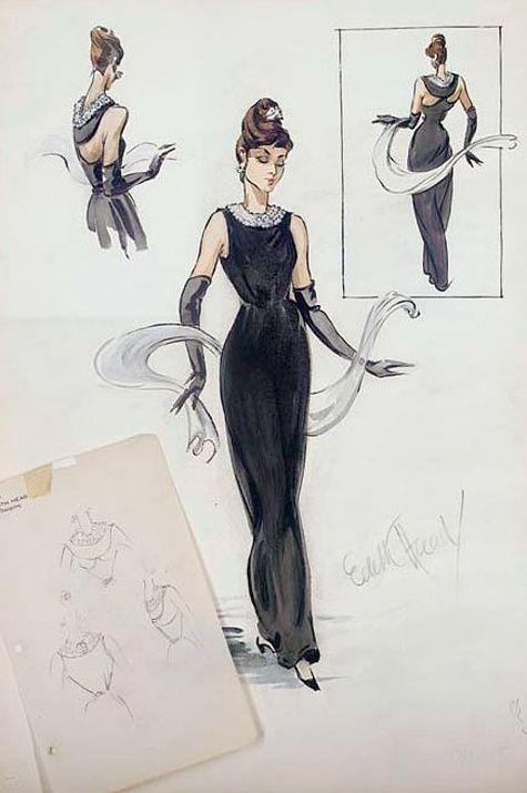 Edith Head Sketch for Audrey Hepburn in Breakfast at Tiffany's, 1960