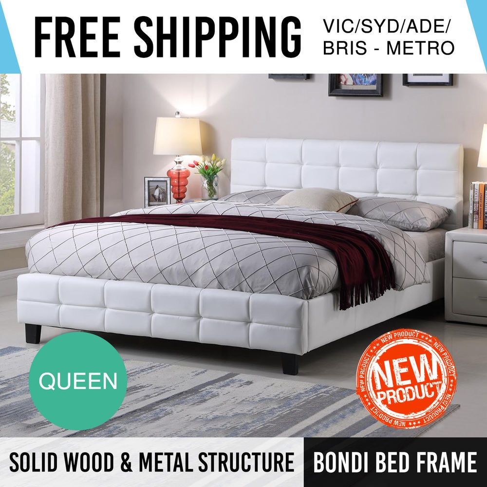 Bed Frame Queen White Pu Leather Bentwood Slat Metal Joint Wooden