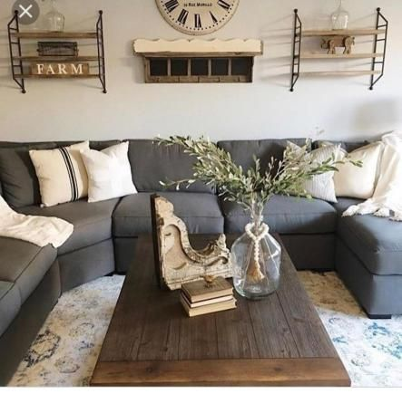 36 Comfortable Farmhouse Style Living Rooms With Grey Sofa