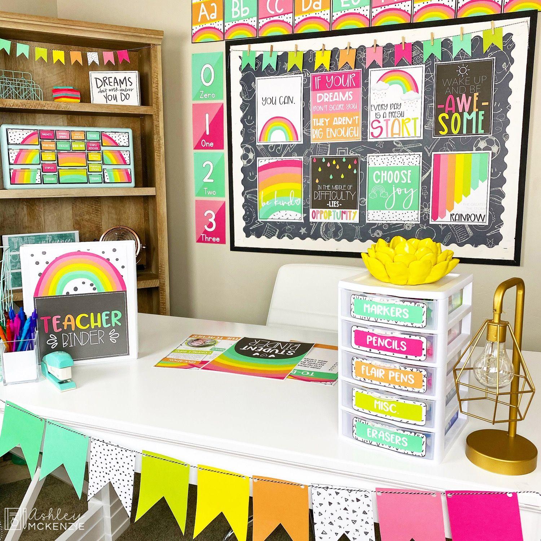 Bright Rainbow Classroom Decor
