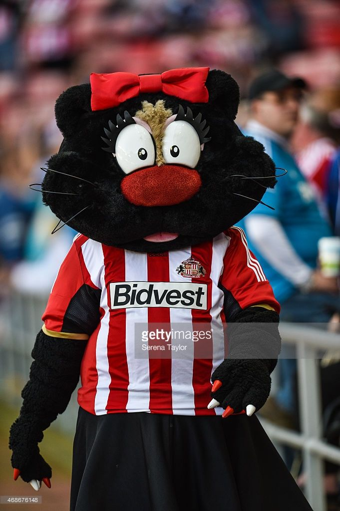Delilah the Black Cat Mascot for Sunderland walks pitch side prior to kick off of the Barclays...