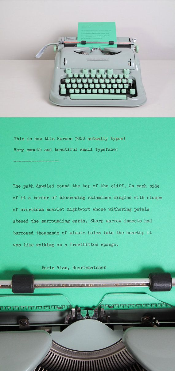 This is how this 1960's Hermes 3000 typewriter actually types! Beautiful Elite typeface.