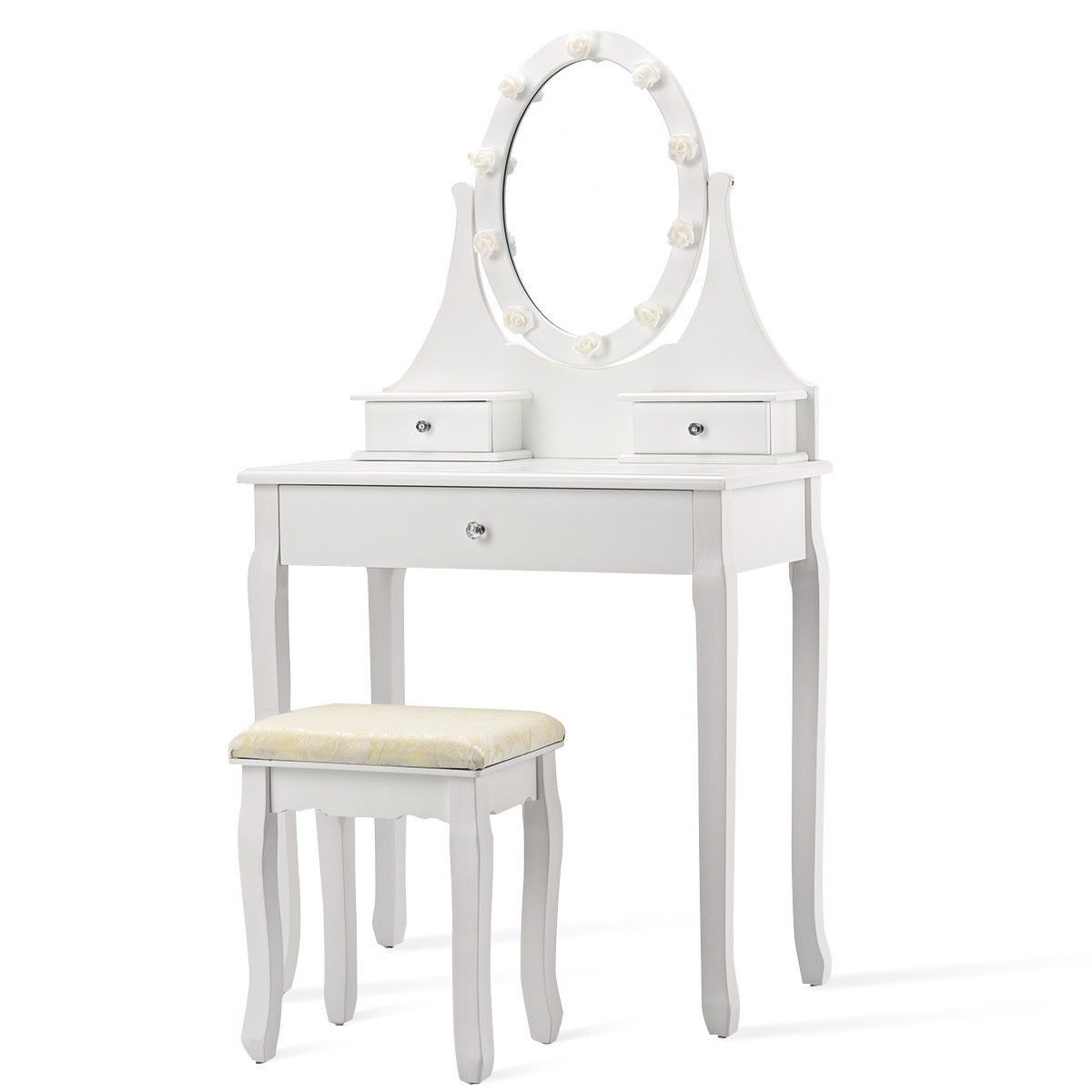 3 Drawers Lighted Mirror Vanity Dressing Table Stool Set Dressing Table With Stool Drawer Lights Dressing Table Set